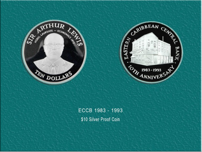 10th Anniversary of the ECCB coin (Silver) : $100.00