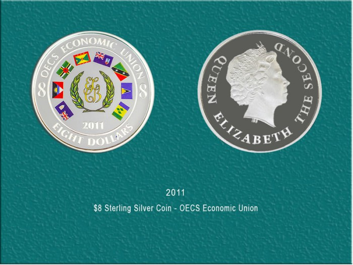 OECS Economic Union $8 Coin Sterling Silver Coin: $420.00